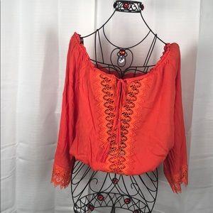 Charlotte Russe Orange XL Peasant Blouse